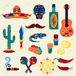 27680288-Collection-of-mexican-icons-in-native-style-Stock-Vector-mexican