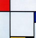 Composizone con rosso e azzurrro