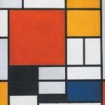 Composizione con piano rosso grande, giallo, nero, grigio e azzurro