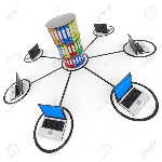 13023991-abstract-computer-network-with-laptops-and-archive-or-database--Stock-Photo