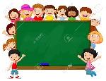 36777932-niños-multitud-de-dibujos-animados-con-la-pizarra