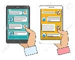 63749556-el-chat-bot-conectado-el-hombre-y-la-mujer-chatear-con-ai-chatterbot-de-mensajería-instantánea-en-el-tel