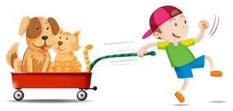 boy-pulling-wagon-dog-cat-illustration-65747316