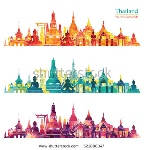 stock-vector-thailand-detailed-skyline-vector-illustration-521888347